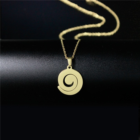 titanium steel geometric spiral necklace  NHAC313906's discount tags