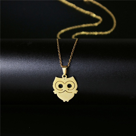 stainless steel owl hip hop necklace NHAC313907's discount tags