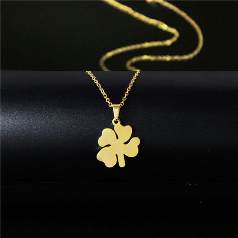stainless steel four-leaf clover necklace NHAC313908's discount tags