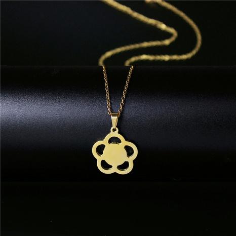 Koreanische kleine Blume vergoldete Halskette NHAC313911's discount tags