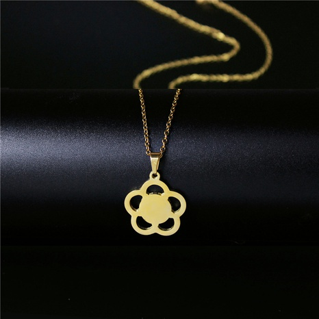 Korean small flower gold plated necklace  NHAC313911's discount tags