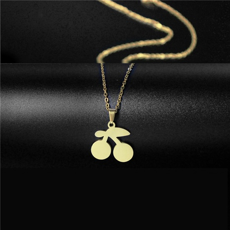 Creative fruit titanium steel cherry necklace NHAC313918's discount tags