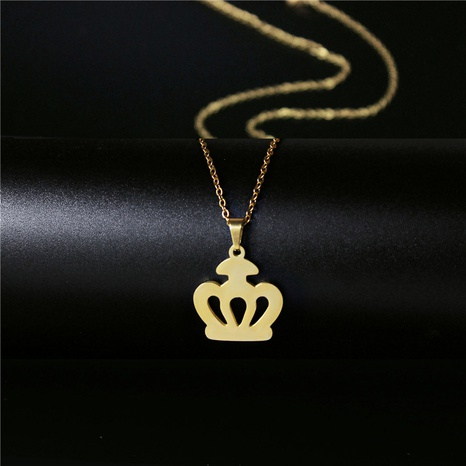 titanium steel crown necklace  NHAC313920's discount tags