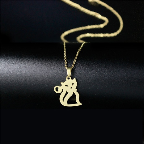 hollow cute cat necklace NHAC313922's discount tags