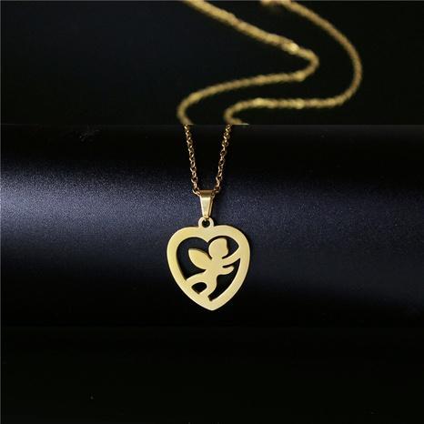 Korean fashion titanium steel heart-shaped little angel necklace NHAC313924's discount tags