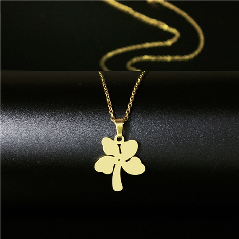 simple stainless steel lucky four-leaf clover necklace NHAC313929's discount tags