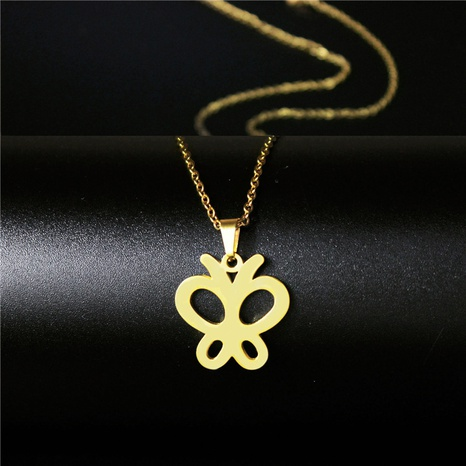 Stainless steel butterfly Korean necklace NHAC313930's discount tags