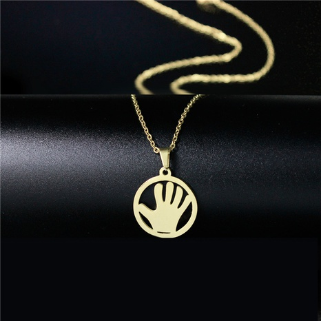 golden palm titanium steel necklace NHAC313931's discount tags