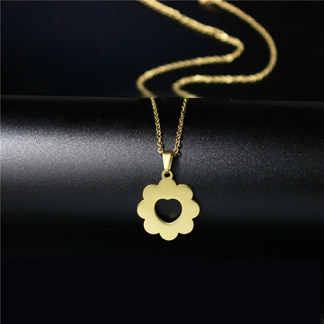 titanium steel small flower pendant necklace NHAC313932's discount tags