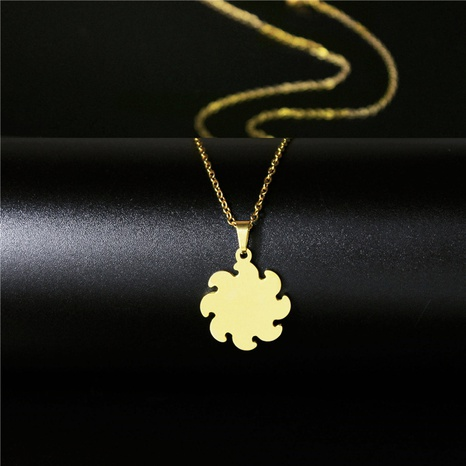 stainless steel round sun logo necklace NHAC313933's discount tags