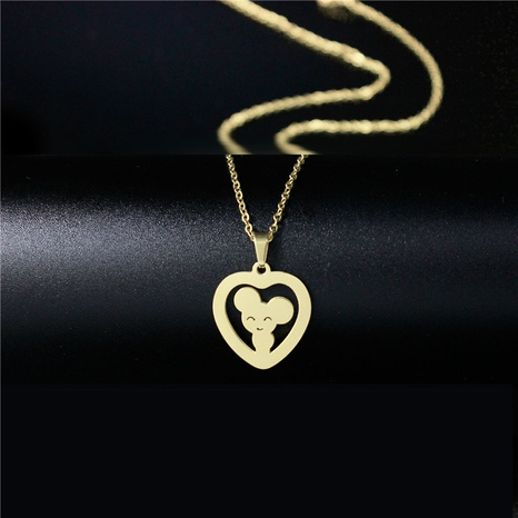 Rat Titanium Steel Heart Necklace NHAC313935's discount tags