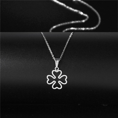 simple clover stainless steel necklace NHAC313964's discount tags