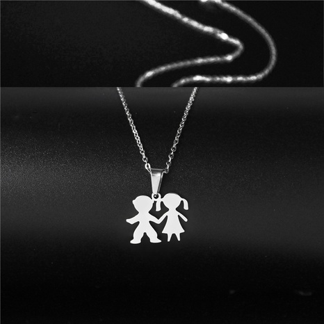 new simple stainless steel boy and girl necklace NHAC313974's discount tags