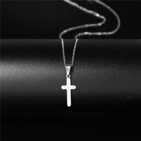 collar con colgante de cruz de acero de titanio simple NHAC313979's discount tags