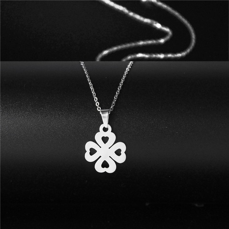 Korean fashion four-leaf stainless steel necklace NHAC313981's discount tags