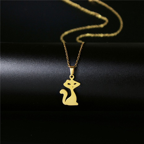 fashion stainless steel fox necklace NHAC313982's discount tags