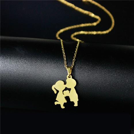 cartoon titanium steel doll kiss pendant necklace NHAC313983's discount tags