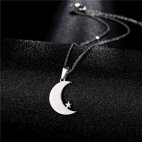 Simple Moon Star Titanium Steel Necklace NHAC313994's discount tags