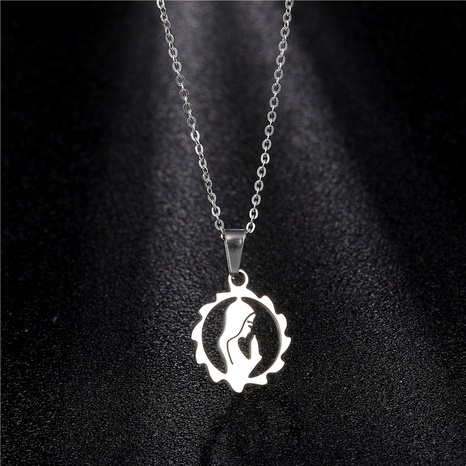 titanium steel mother pendant necklace NHAC314002's discount tags