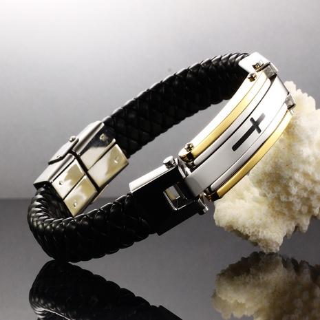 retro fashion men's classic creative cross leather bracelet NHOP313469's discount tags