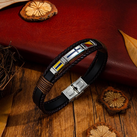 retro hand-woven cross men's leather bracelet NHOP313454's discount tags