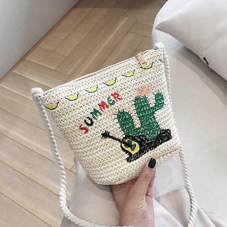 nouveau joli sac à bandoulière en paille tissée flamingo NHJZ316161's discount tags
