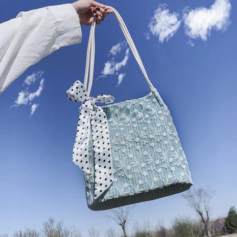 nouveau sac seau en paille de dentelle sauvage coréenne tendance NHJZ316164's discount tags