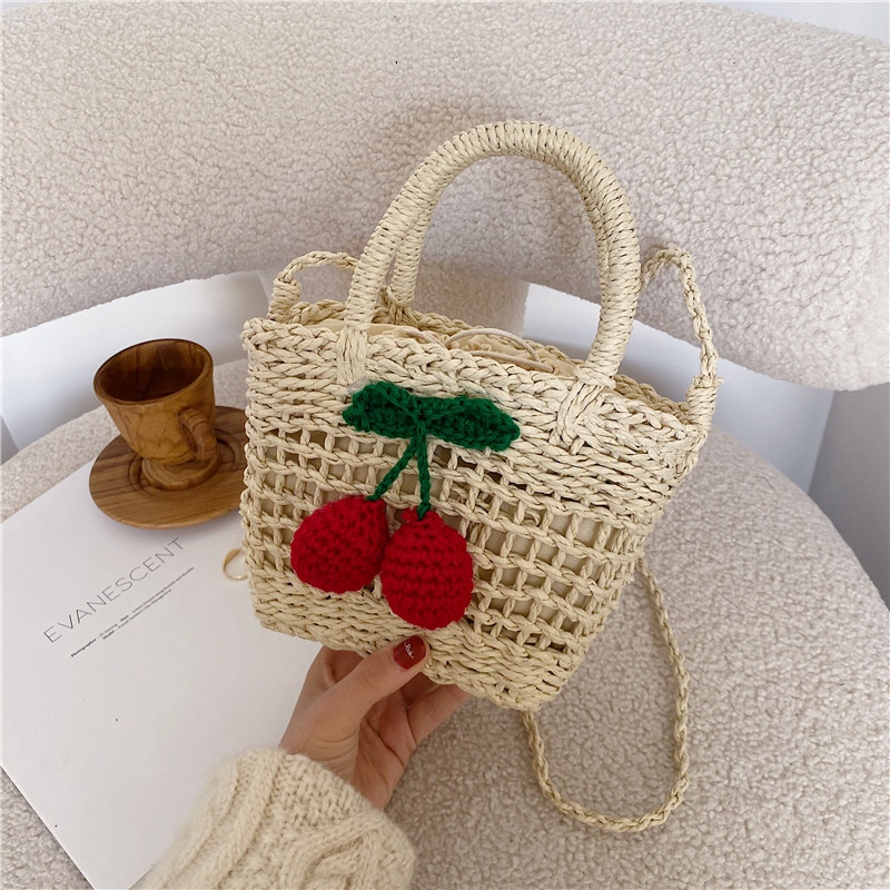 fashion new woven cherry pastoral bag NHJZ316181