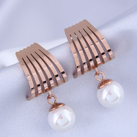 fashion sweet OL titanium steel simple pearl earrings NHSC316250's discount tags