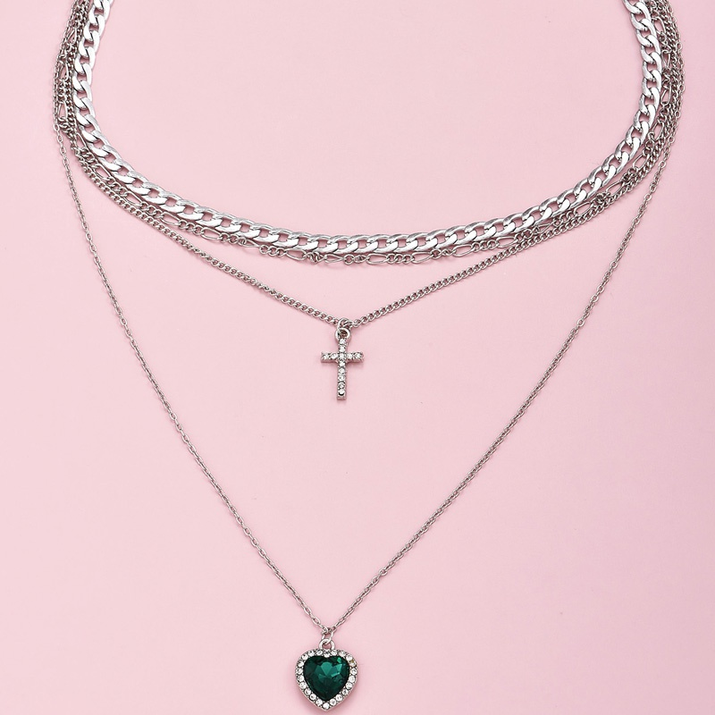 fashion multi-layer cross gemstone pendant necklace NHAJ316599