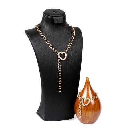fashion hollow diamond love pendant Necklace Bracelet Set NHPY316227's discount tags