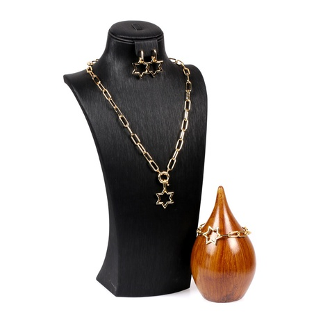 simple hollow star pendant thick chain necklace set NHPY316229's discount tags