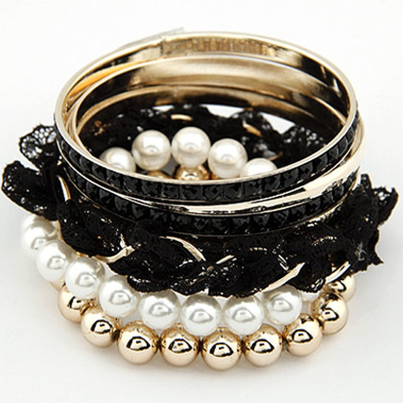 Korean Fashion Lace Pearl Multilayer bracelet NHSC316277