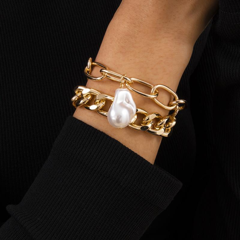 Baroque style pearl retro irregular pendant bracelet NHXR316279