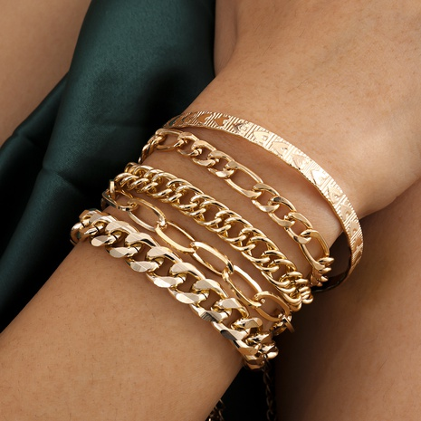 simple embossed metal bracelet set NHXR316292's discount tags