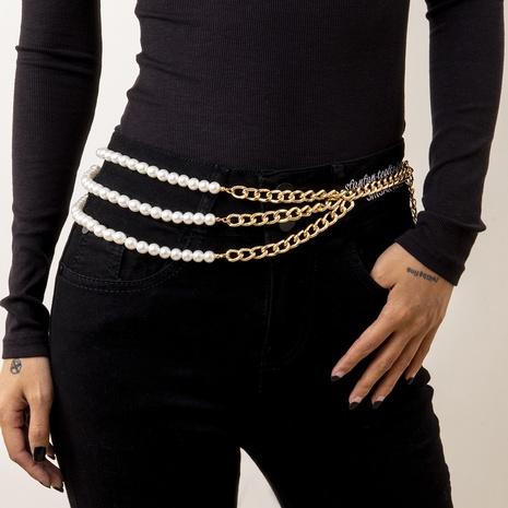 punk geometric asymmetric retro imitation pearl waist chain NHXR316286's discount tags