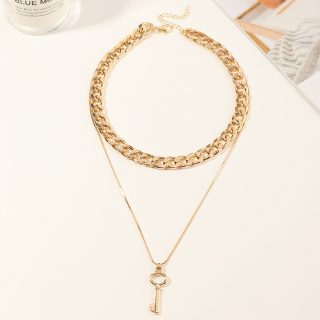 hip hop thick chain metal key double-layer necklace NHNZ316299's discount tags