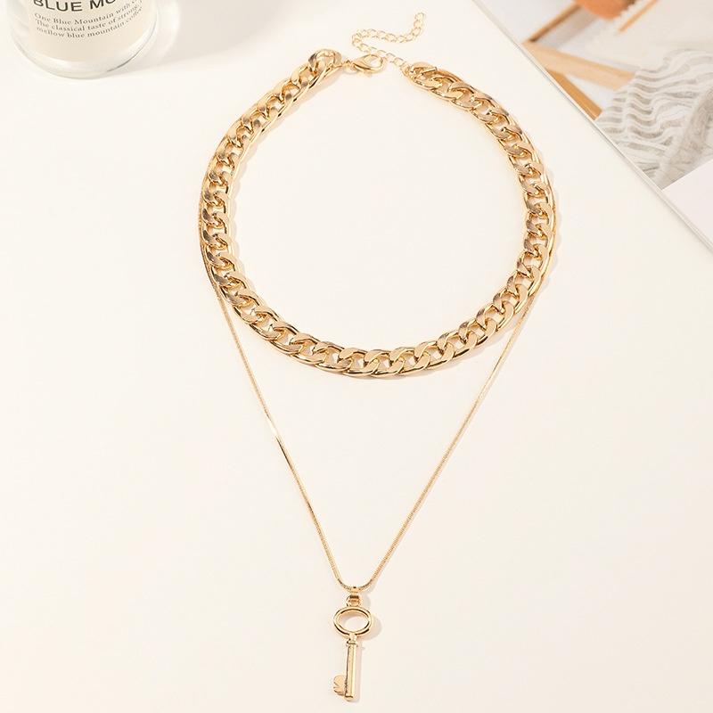 hip hop thick chain metal key double-layer necklace NHNZ316299