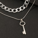 hip hop thick chain metal key doublelayer necklace NHNZ316299