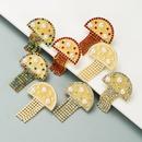 Creative alloy diamondstudded pearl mushroom earrings NHLN316313