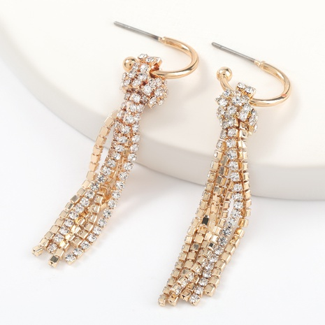 fashion alloy rhinestone tassel earrings NHJE316320's discount tags