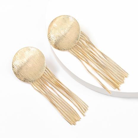 Fashion round alloy long tassel earrings  NHJE316324's discount tags