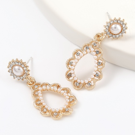 alloy diamond inlaid pearl drop-shaped earrings NHJE316326's discount tags