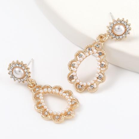 Legierung Diamant eingelegte Perle tropfenförmige Ohrringe NHJE316326's discount tags