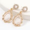 alloy diamond inlaid pearl dropshaped earrings NHJE316326