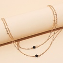 black crystal multilayer necklace  NHRN316327