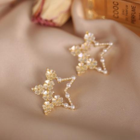 einfache Retro Perlenblumenohrringe NHYI316341's discount tags