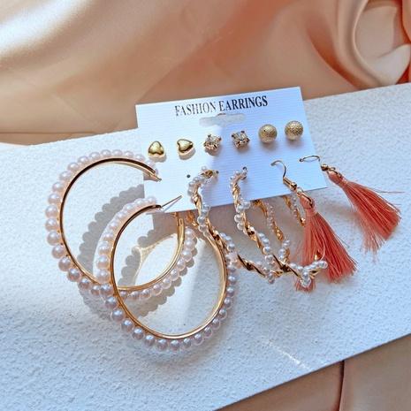 retro pearl tassel earrings set NHYI316344's discount tags