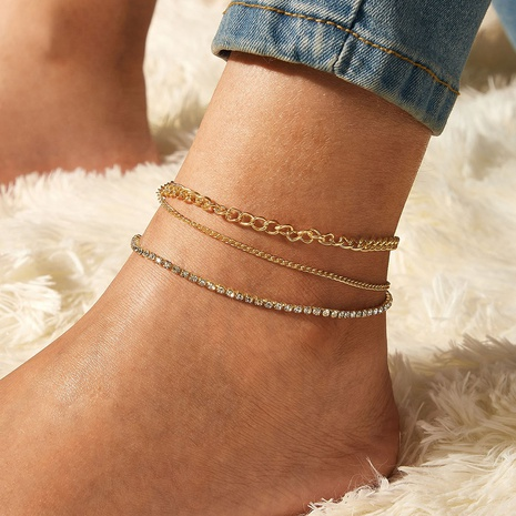 simple retro creative full diamond multi-layer anklet three-piece suit NHYI316345's discount tags