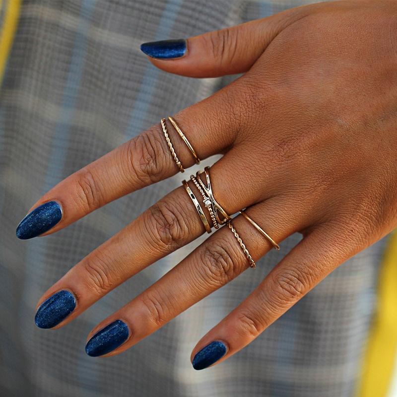 creative simple fashion four-layer diamond-studded open ring set NHYI316346